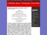 Cahiers pour l'Analyse Concrète
