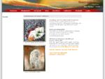 Udstilling af kunst på Kunst-cafeen på Internettet. Kunst omfatter malerier, sten, skulpturer,
