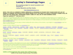 Lesley's Genealogy - Homepage